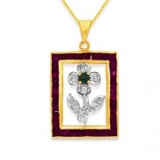 3ct. ruby pendant set with diamond in fancy pendant