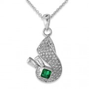0.28ct. emerald pendant set with diamond in traditional pendant
