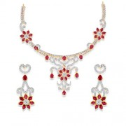 6.26ct. ruby necklace set with diamond in traditional necklace