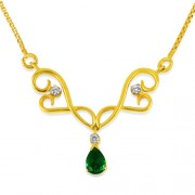 0.5ct. emerald mangalsutra set with diamond in casual mangalsutra