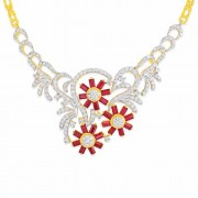 7.23ct. ruby necklace set with diamond in fancy necklace