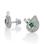 0.57ct. emerald earrings set with diamond in traditional earrings
