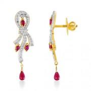 1.09ct. ruby earrings set with diamond in drop earrings