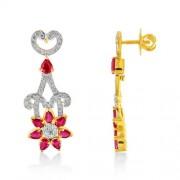 3.46ct. ruby earrings set with diamond in traditional earrings