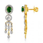 1.81ct. simulated emerald earrings set with diamond in fancy earrings