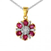 1.28ct. ruby pendant set with diamond in traditional pendant