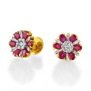 2.85ct. ruby earrings set with diamond in traditional earrings