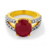 7.69ct. simulated ruby ring set with diamond in cocktail ring