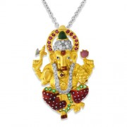 0.21ct. ruby pendant set with diamond in religious pendant