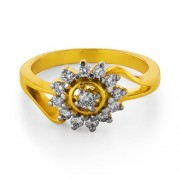 0.37ct. diamond ring set with diamond in flower ring