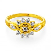 0.38ct. diamond ring set with diamond in flower ring