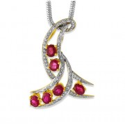 2.79ct. ruby pendant set with diamond in fancy pendant