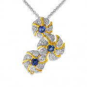 1.15ct. sapphire pendant set with diamond in traditional pendant