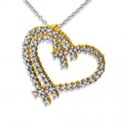 0.52ct. diamond pendant set with diamond in heart pendant