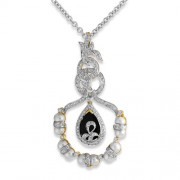 11.28ct. onyx pendant set with diamond in designer pendant