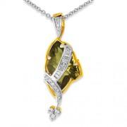 5.3ct. smoky quartz pendant set with diamond in fancy pendant