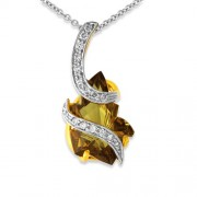 5.8ct. smoky quartz pendant set with diamond in fancy pendant