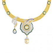9.83ct. sapphire necklace set with diamond in fusion necklace