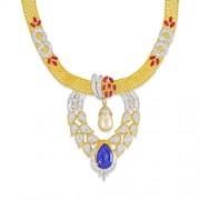 14.2ct. simulated sapphire pendant set with diamond in designer pendant