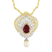 56.33ct. simulated ruby pendant set with diamond in fusion pendant