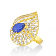 3.33ct. simulated sapphire ring set with diamond in designer ring