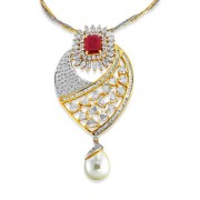 16.65ct. simulated ruby pendant set with diamond in fusion pendant