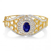 8.1ct. simulated sapphire bracelet set with diamond in fusion bracelet