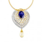30.64ct. simulated sapphire pendant set with diamond in fusion pendant