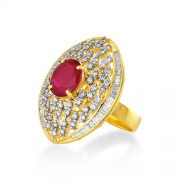 5.4ct. simulated ruby ring set with diamond in designer ring