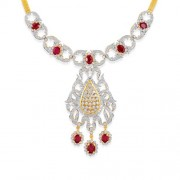 3.39ct. simulated ruby necklace set with diamond in designer necklace
