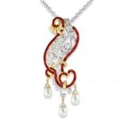 24.35ct. ruby pendant set with diamond in designer pendant