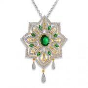5.51ct. simulated emerald pendant set with diamond in designer pendant