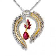 3.129ct. ruby pendant set with diamond in designer pendant