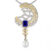14.6ct. simulated sapphire pendant set with diamond in designer pendant