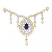 4.15ct. simulated sapphire necklace set with diamond in designer necklace