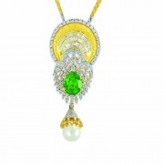 24.58ct. simulated emerald pendant set with diamond in designer pendant