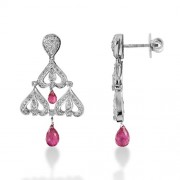 3.15ct. tourmaline earrings set with diamond in fancy earrings