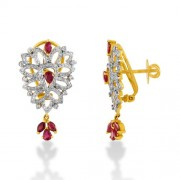1.88ct. ruby earrings set with diamond in fancy earrings
