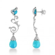 20.18ct. turquoise earrings set with diamond in designer earrings