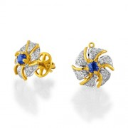 0.64ct. sapphire earrings set with diamond in traditional earrings