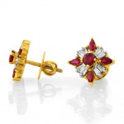 1.26ct. ruby earrings set with diamond in traditional earrings