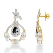 13.15ct. onyx earrings set with diamond in designer earrings