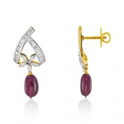 10.93ct. tourmaline earrings set with diamond in designer earrings