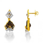 7.04ct. smoky quartz earrings set with diamond in fancy earrings