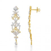 2.57ct. diamond earrings set with diamond in drop earrings