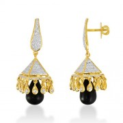 10.88ct. onyx jhumki set with diamond in jhumki jhumki