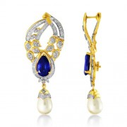 18.14ct. simulated sapphire earrings set with diamond in designer earrings