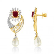 16.49ct. simulated ruby earrings set with diamond in fusion earrings
