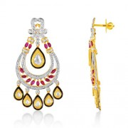 3.55ct. ruby jhumki set with diamond in fusion jhumki