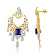 13.61ct. simulated sapphire jhumki set with diamond in fusion jhumki